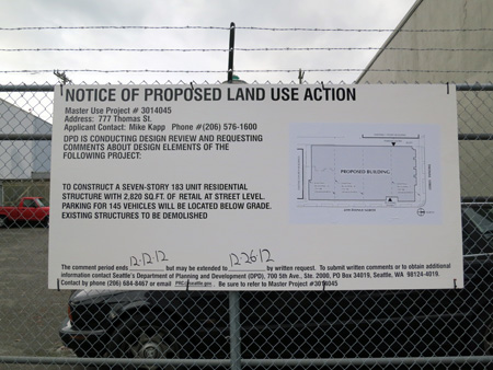 Notice of Land Use Action for proposed new development at 777 Thomas
