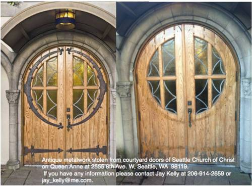 Seattle Church of Christ (2555 8th Ave W) in Queen Anne. Left photo: door with original metalwork intact; right photo: historic metalwork stolen / Source: Seattle Church of Christ