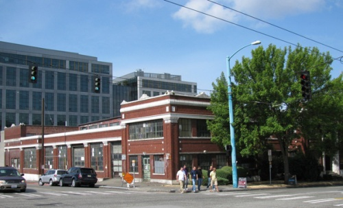 Designated Seattle Landmark Troy Laundry Building at Fairview and Thomas, South Lake Union. The block that it sits on is planned for redevelopment.