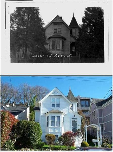2016 14th Ave W in 1937 (top) and 2013 (bottom). Sources: Washington State Archives, Puget Sound Branch (historic photo); King County Assessor (contemporary photo)