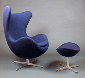 Egg chair and ottoman by Arne Jacobsen, designed in 1958.